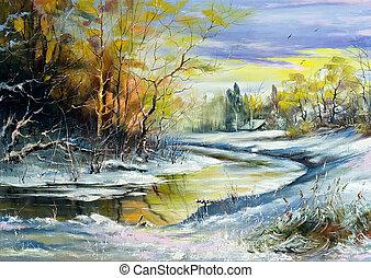 rivière, hiver, village