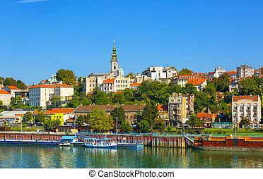 rivière, sava, riverboats, touriste, jour, ensoleillé, belgrade, serbie