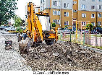road., excavateur, surface, construction, prépare, nouveau