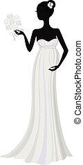 robe, silhouette, pregnant, long, mariée, vecteur