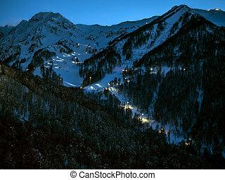rosa, hiver, khutor, beau, montagnes, soir, saison