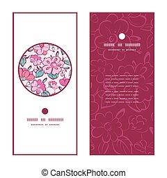 rose, bleu, ensemble, vertical, modèle, cadre, salutation, vecteur, kimono, invitation, cartes, fleurs, rond