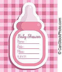 rose, bouteille bébé, invitation