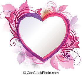 rose, coeur, floral, fond