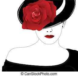 rose, femme, chapeau