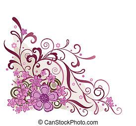 rose, floral, coin, concevoir élément