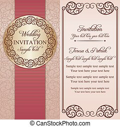 rose, invitation, baroque, beige, mariage