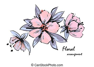 rose, pommier, arrangement., tendre, flowers., vecteur, romantique, floral, jardin