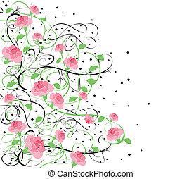 roses, flourishes, noir, 7