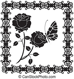 roses, papillons, noir