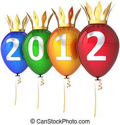 royal, année, nouveau, 2012, ballons, heureux