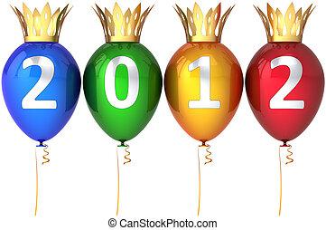 royal, année, nouveau, heureux, ballons, 2012