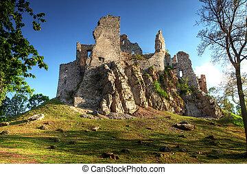 ruine, hrusov, château