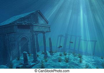 ruines, sous-marin