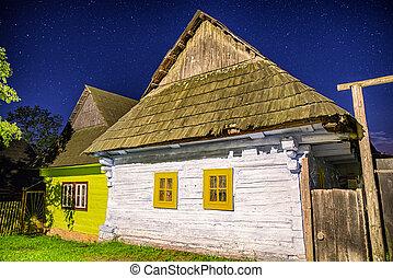 rural, nuit, slovaia, maison