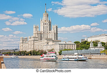 russia., bâtiment, haut-ascension, moscou, kotelnicheskaya, remblai