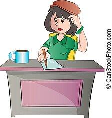 séance femme, illustration, bureau, ou, secrétaire