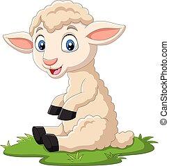 séance, mignon, dessin animé, herbe, agneau