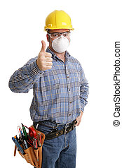 sécurité, thumbsup, construction
