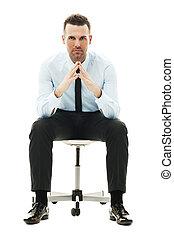 sérieux, chaise, homme affaires, séance