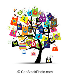 sacs, conception, achats, ton, arbre