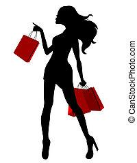 sacs, femme, silhouette, jeune, rouge noir