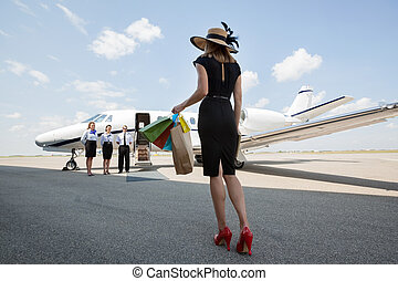 sacs, marche, achats femme, jet, privé, quoique, porter, vers