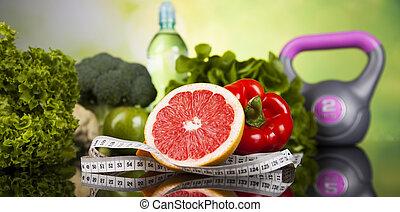 sain, concept, style de vie, vitamines, composition