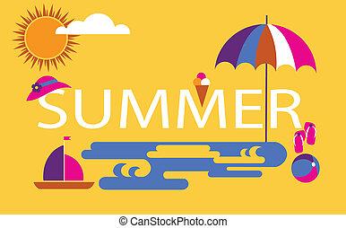saisonnier, temps été, vacances plage