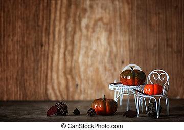 salle, bois, intérieur, frais, chaise, citrouille