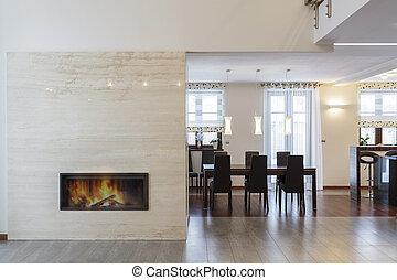 salle, -, dîner, conception, grandiose, cheminée