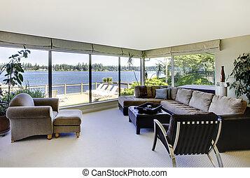 salle de séjour, grand, windows., eau, cheminée, vue