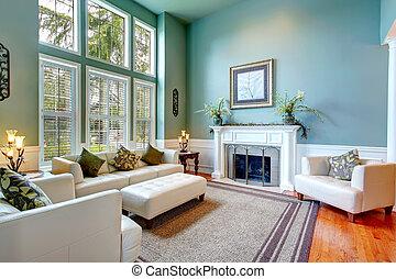 salle de séjour, maison, élégant, luxe, interior.