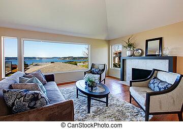 salle de séjour, meublé, surprenant, fenêtre, riche, vue