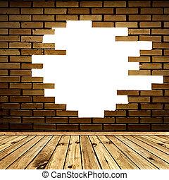salle, mur, brique, cassé
