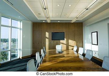 salle réunion, bâtiment, bureau