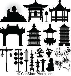 sanctuaire, relique, asiatique, chinois, temple