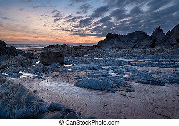 sandymouth, crépuscule
