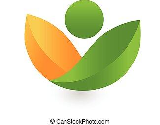 santé, pousse feuilles, logo, vert, nature