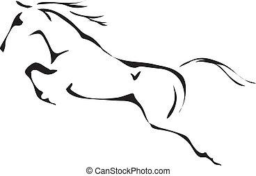sauter cheval, vecteur, noir, blanc, grands traits