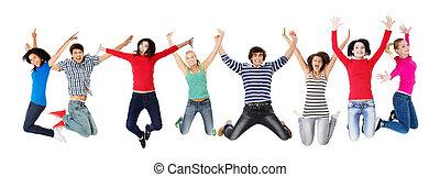 sauter, gens, heureux, jeune, groupe, air