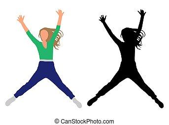 sauter, noir, vecteur, silhouette., couleur, illustration, heureux, girl