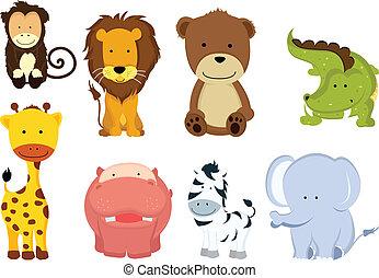 sauvage, dessins animés, animal