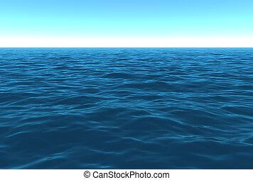 scénique, journée, océan