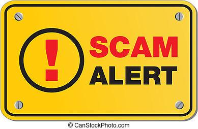 scam, -, jaune, alerte, signe, rectangle
