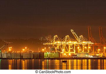 seattle, port, nuit