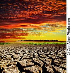 sec, sur, dramatique, coucher soleil, la terre, toqué, rouges