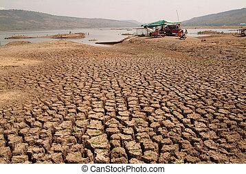 sec, terre fissurée, argile