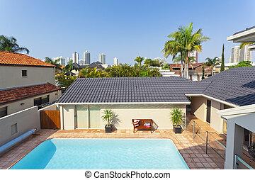 secteur, regarder, horizon, vue, piscine, balcon