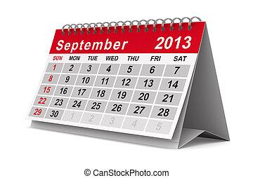 september., image, isolé, calendar., année, 2013, 3d